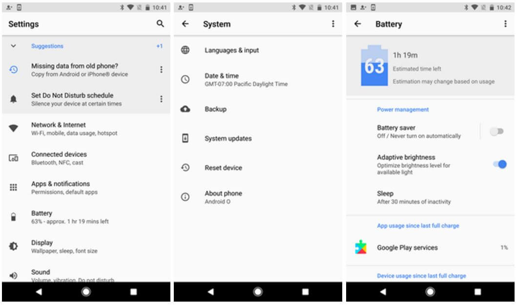 android o settings
