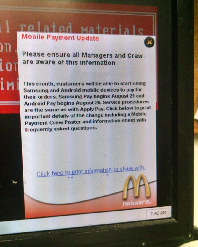 android pay mcdonalds