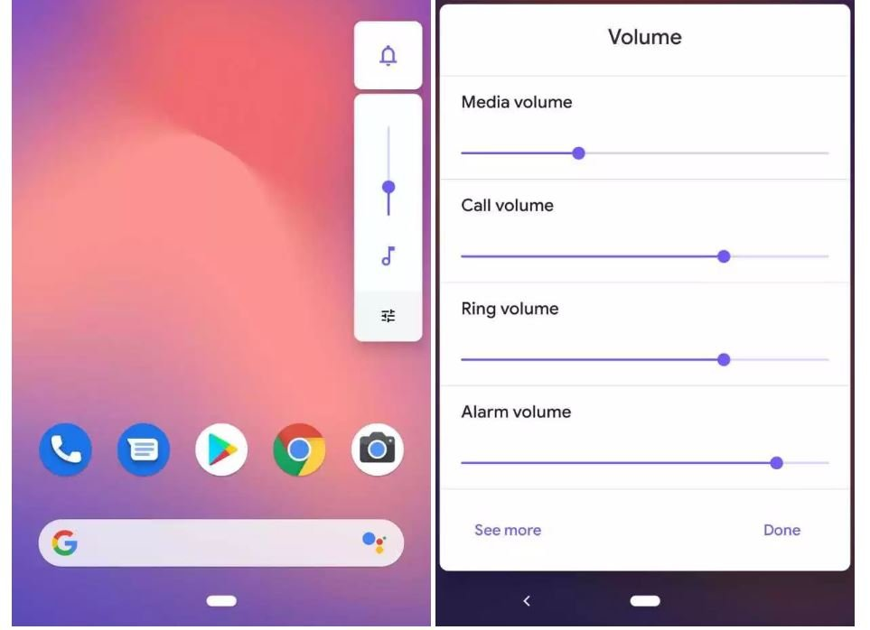 android q beta 2 volume slider
