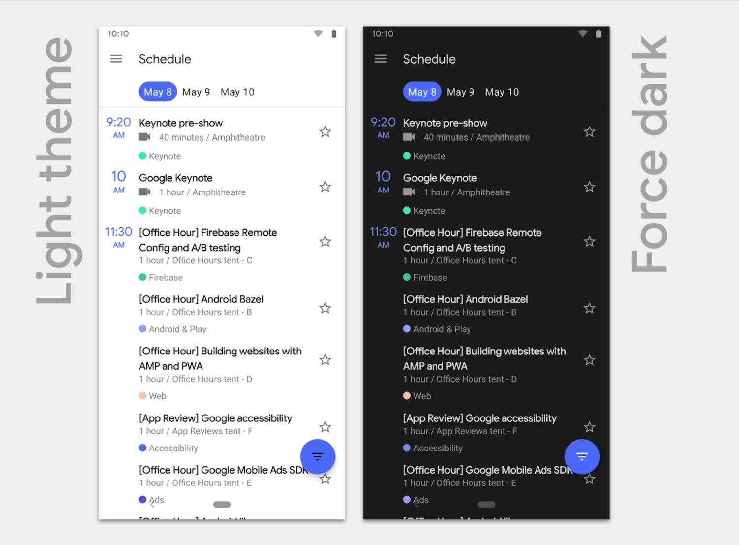android q dark mode light mode