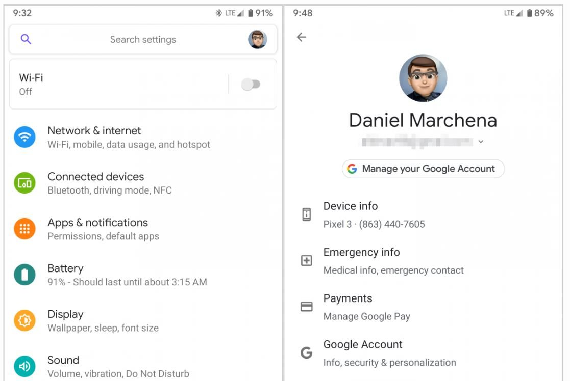 android q profile google account