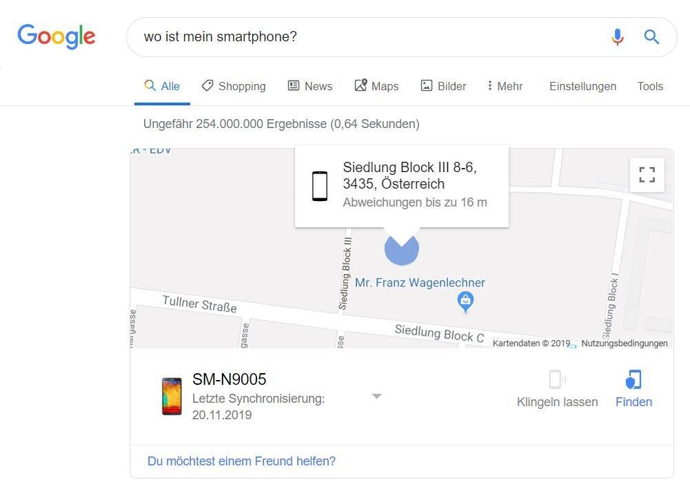 Google mein gerät finden