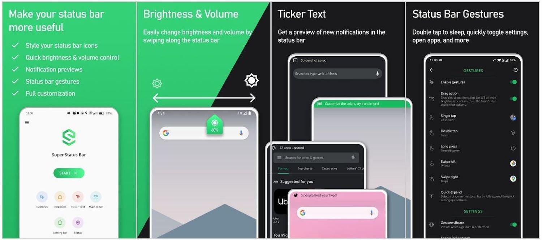 android super status bar screenshots
