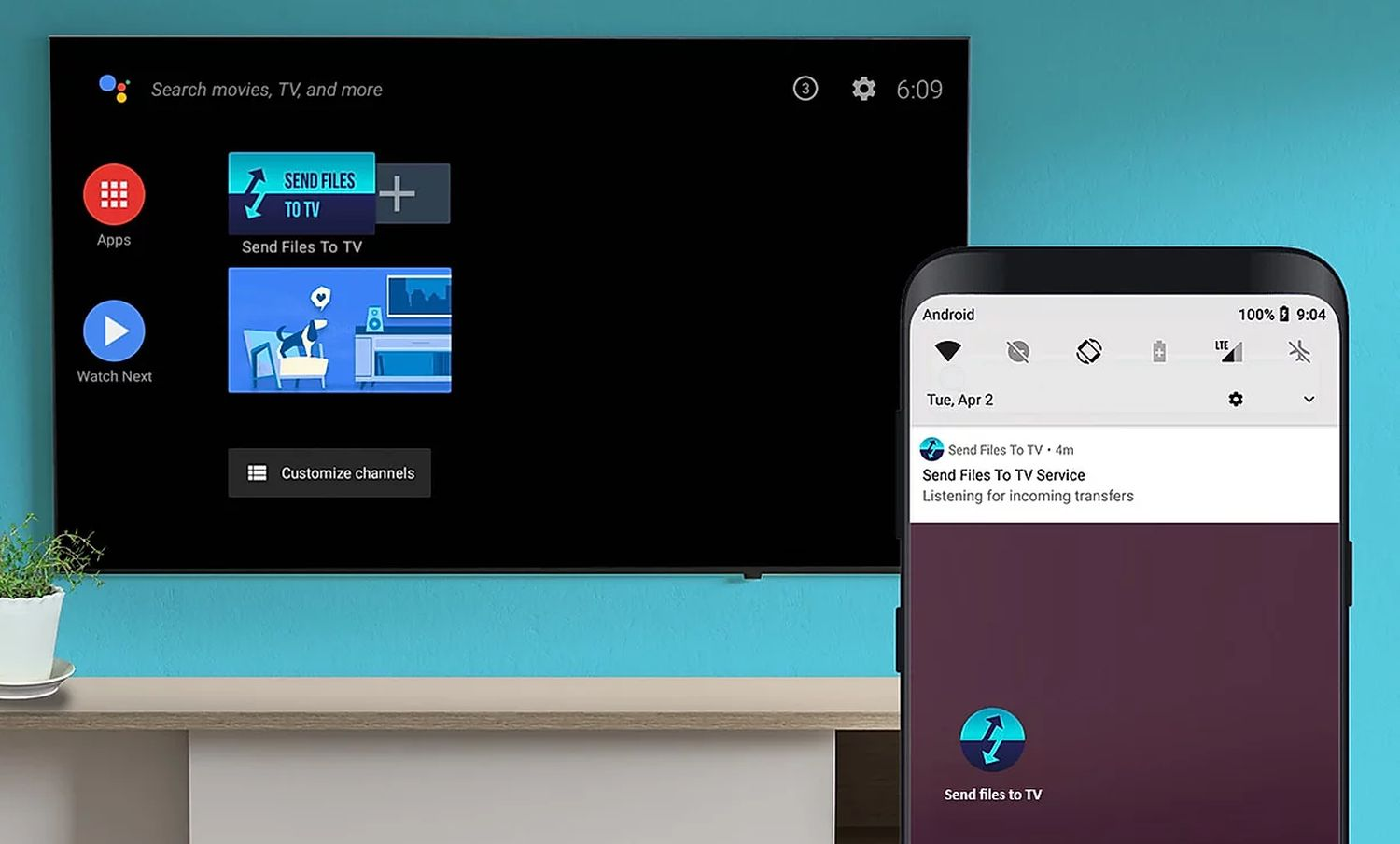 android tv send files to tv