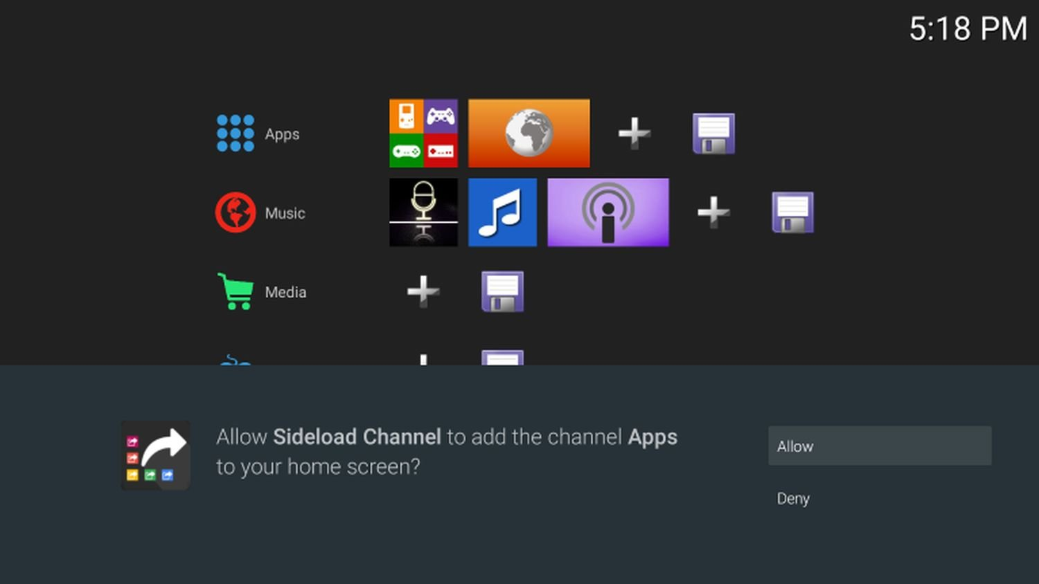 android tv sideload channel application launcher