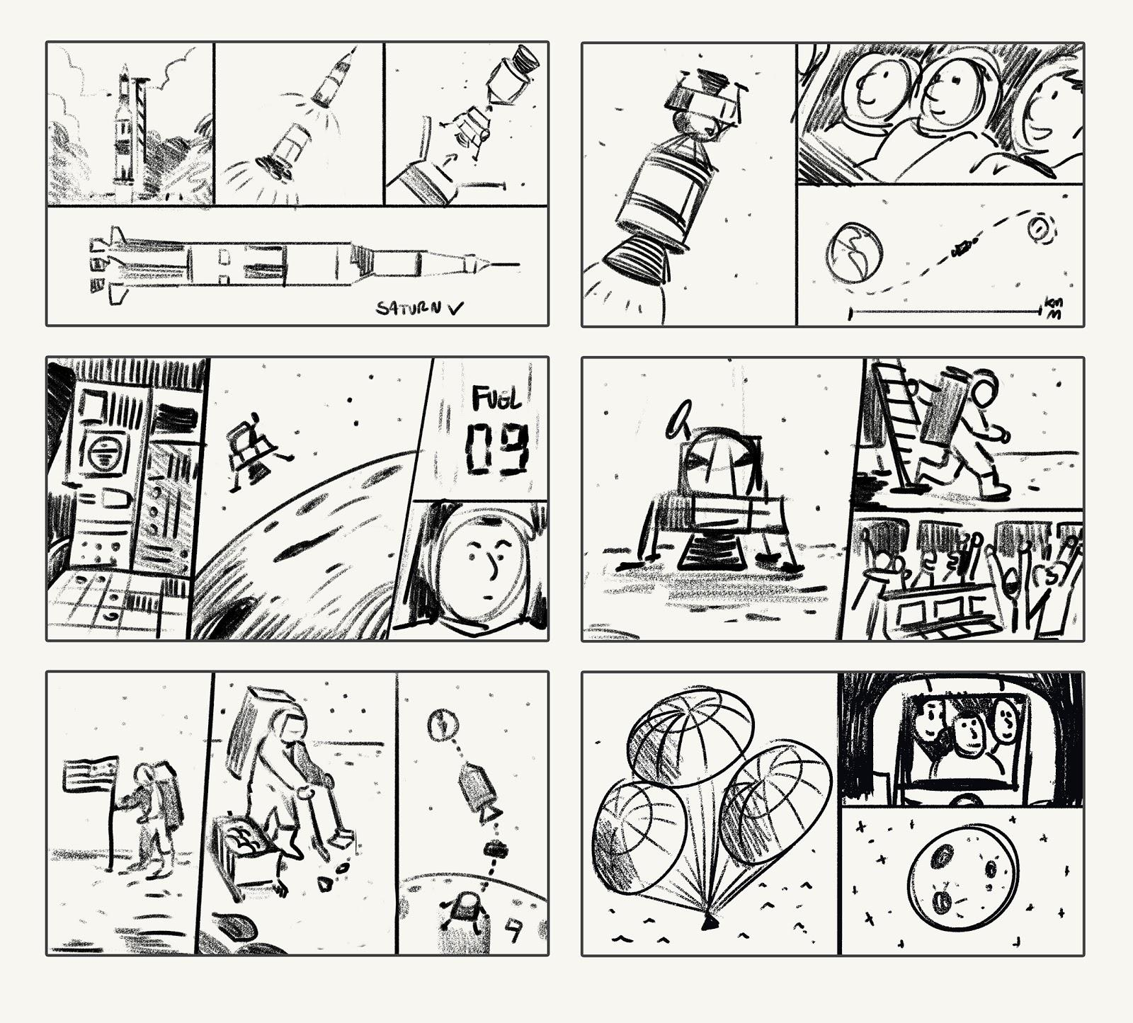 apollo-11-mission doodle storyboard