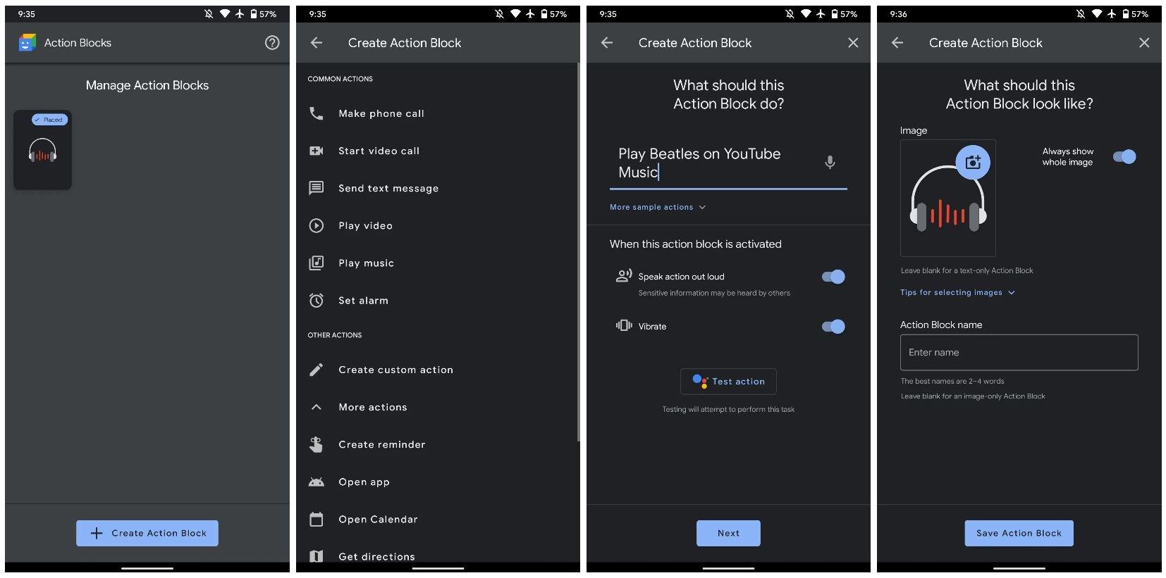 assistant action blocks dark mode new
