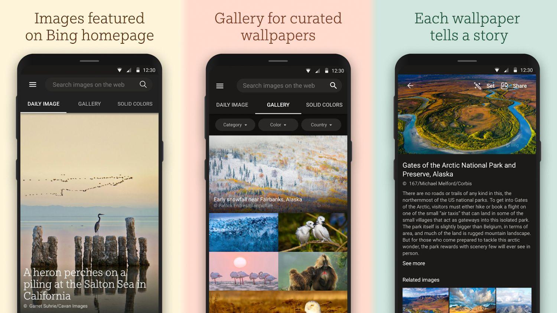 bing wallpaper app screenshots
