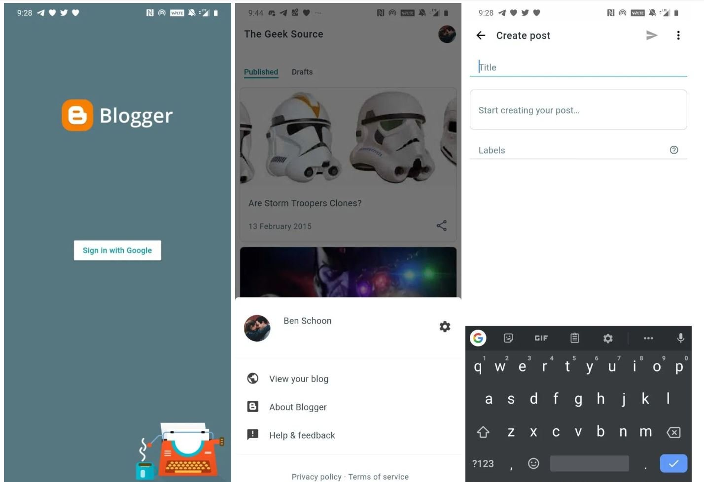blogger screenshots start