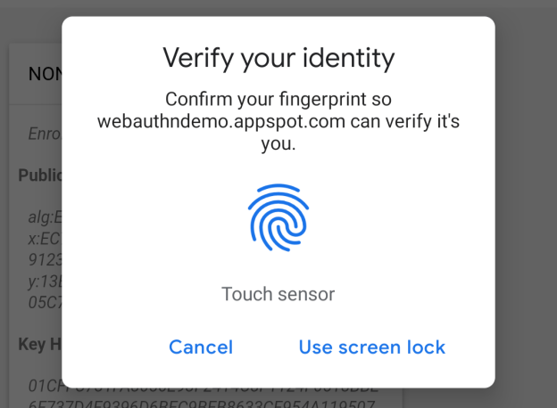 chrome android fingerabdruckleser