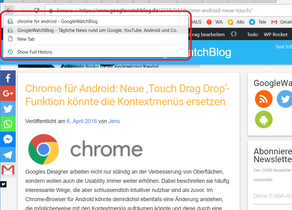 chrome back button