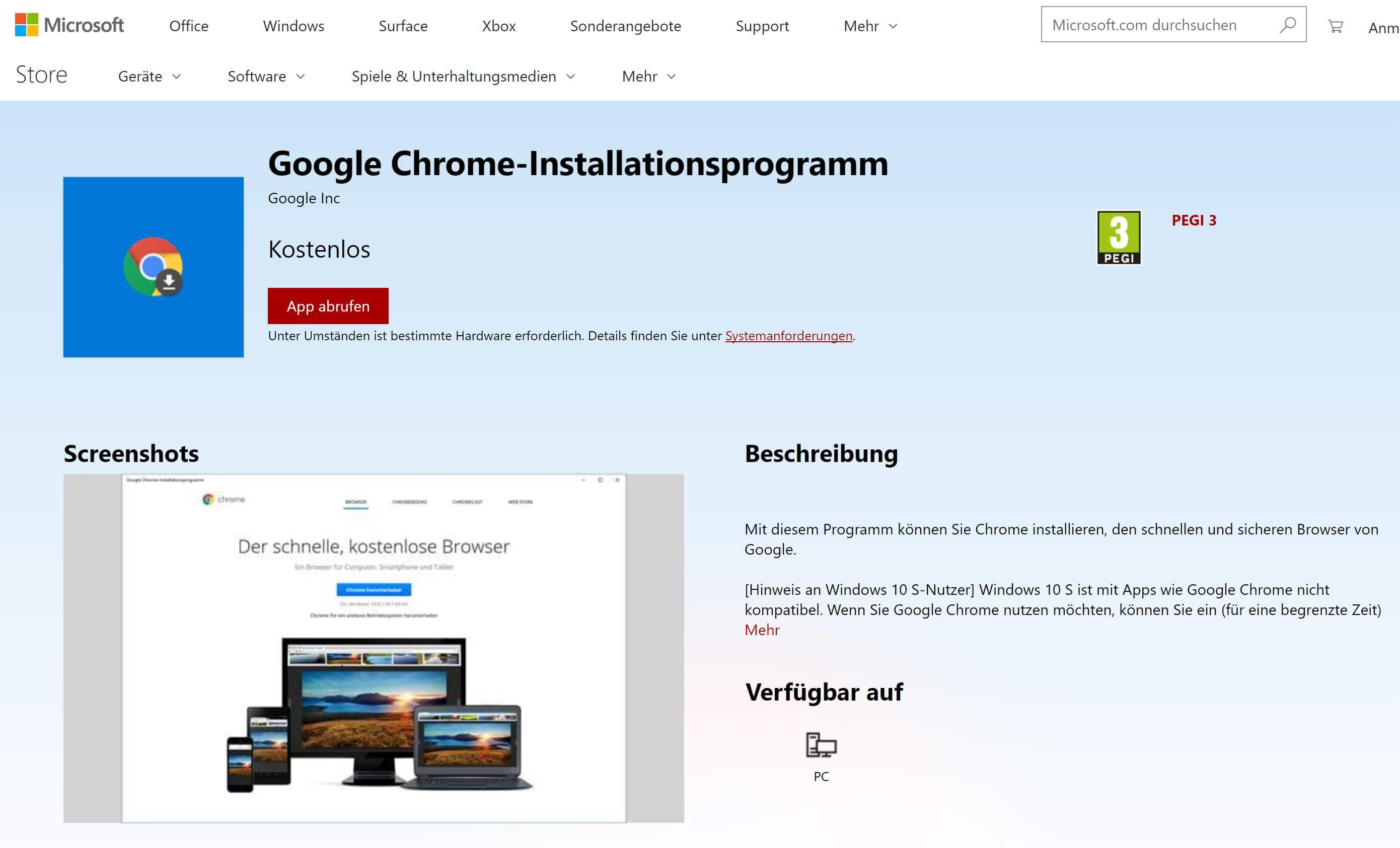 chrome download windows store