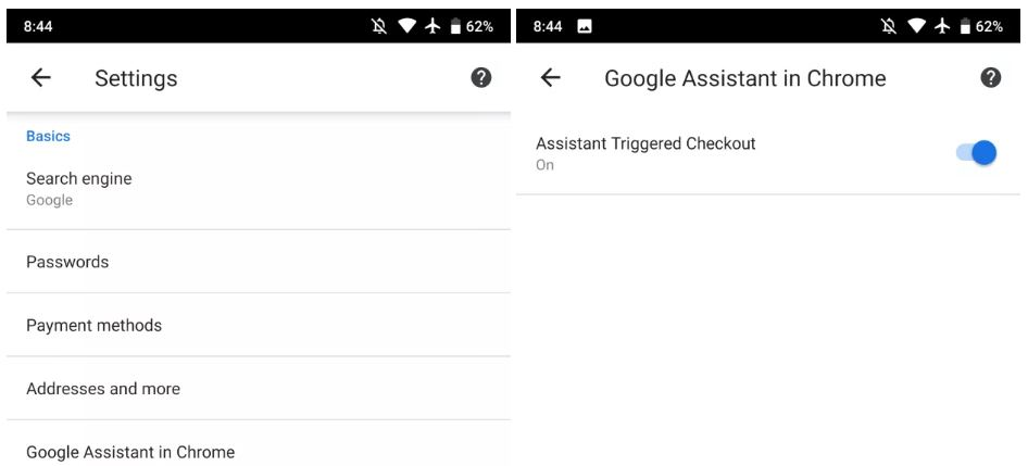 chrome for android assistant