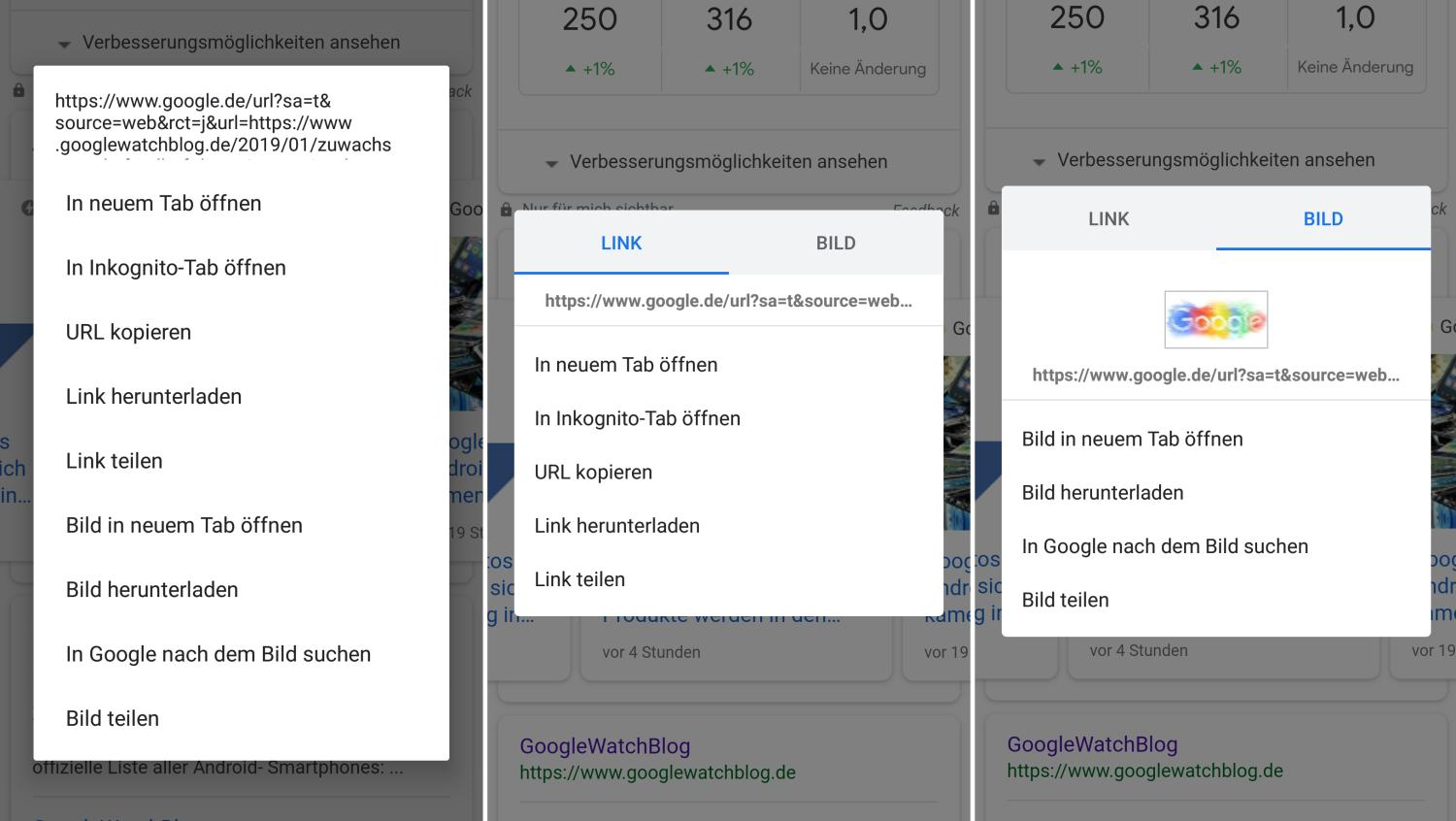 chrome for android context menu