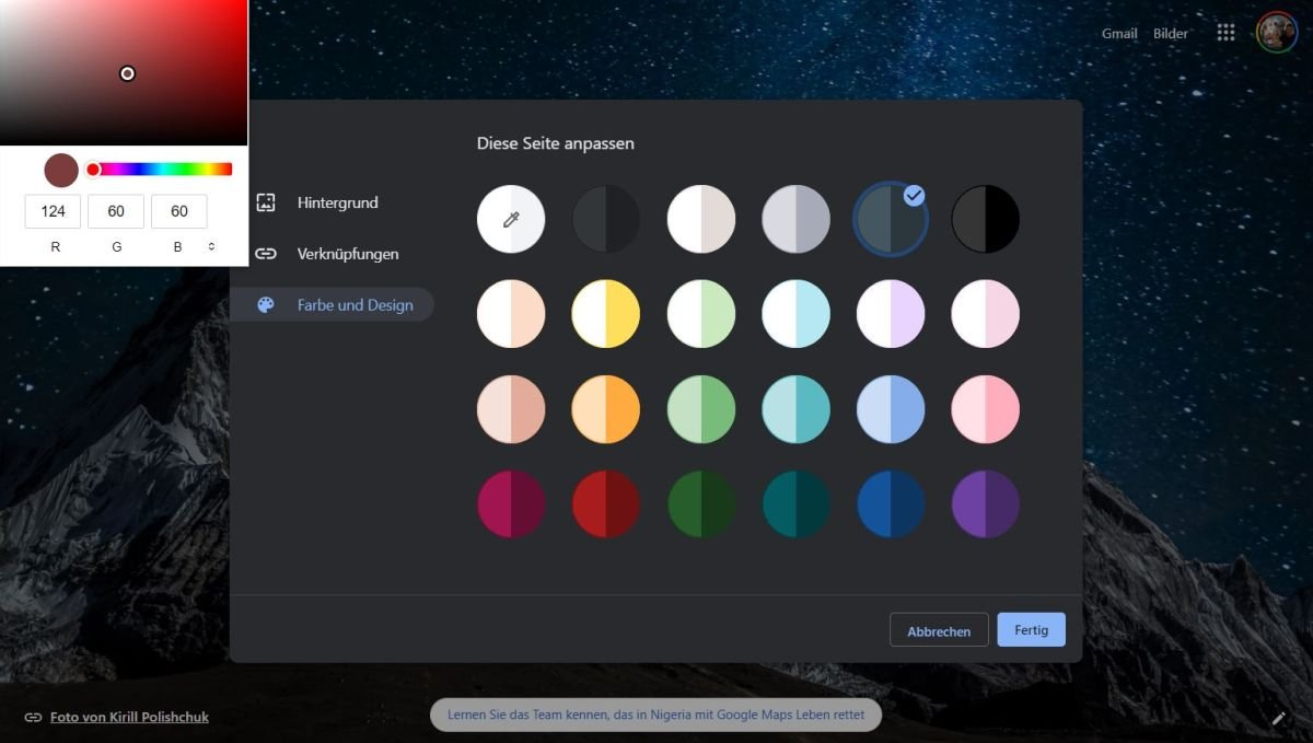 chrome ntp farbwahl
