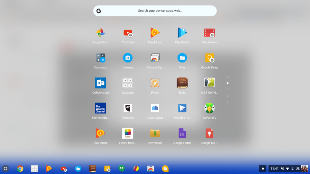 chrome os transparent launcher