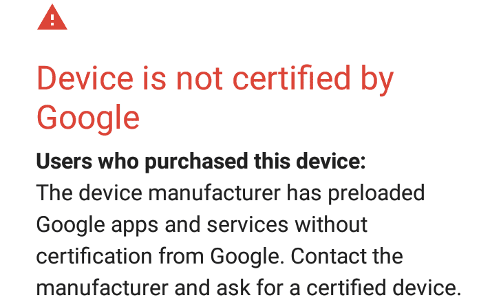 device not certified