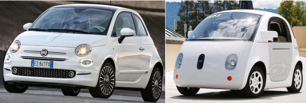 fiat 500 vs google car