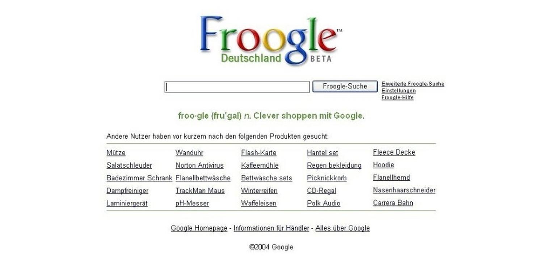 froogle homepage