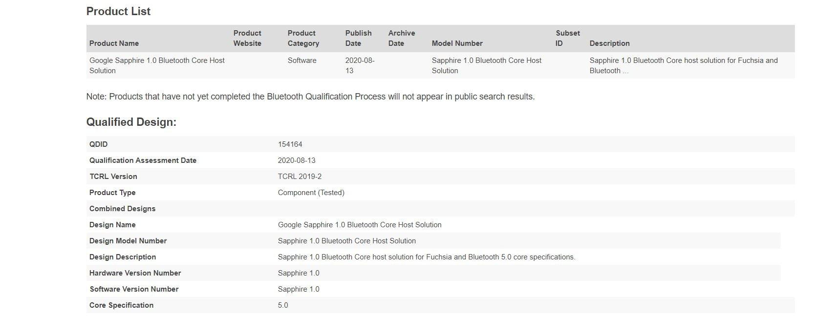 fuchsia bluetooth certificate