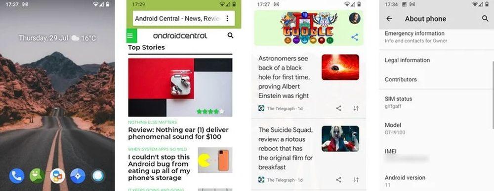 galaxy s2 android 11 screenshots