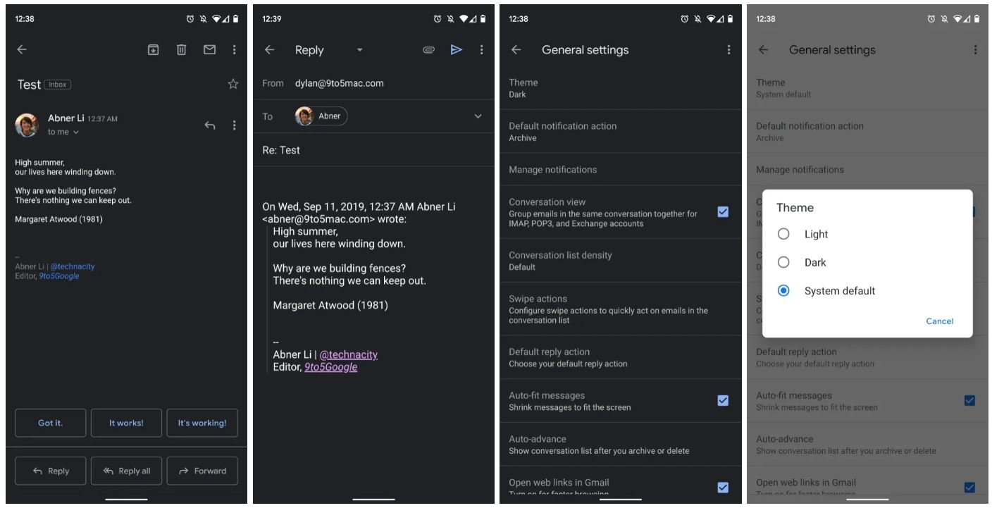 gmail android dark mode