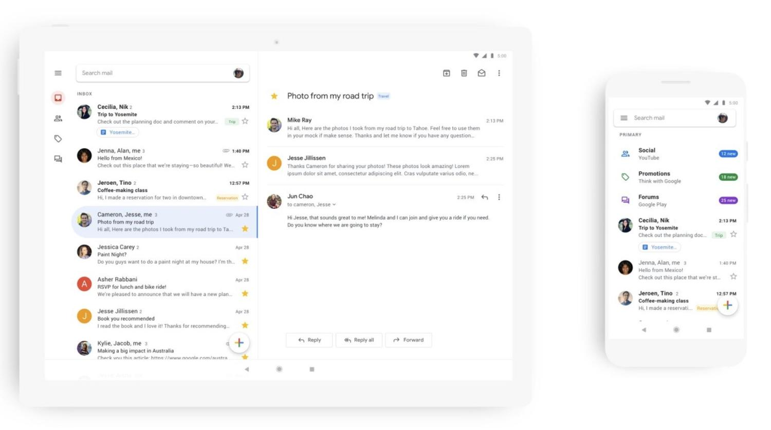gmail app new design