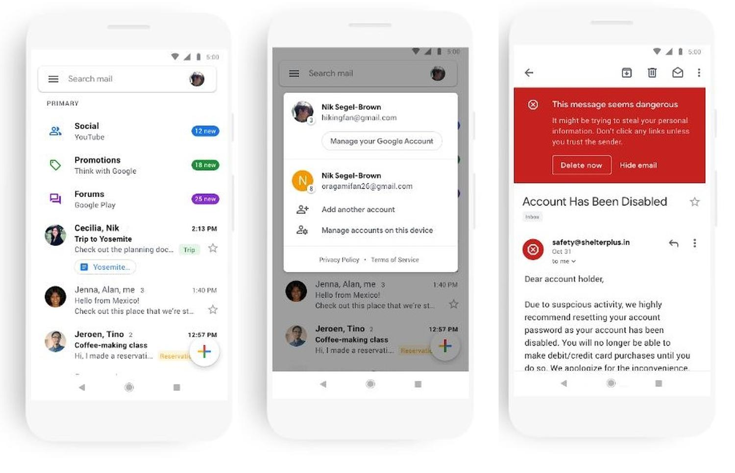 gmail app new screenshots