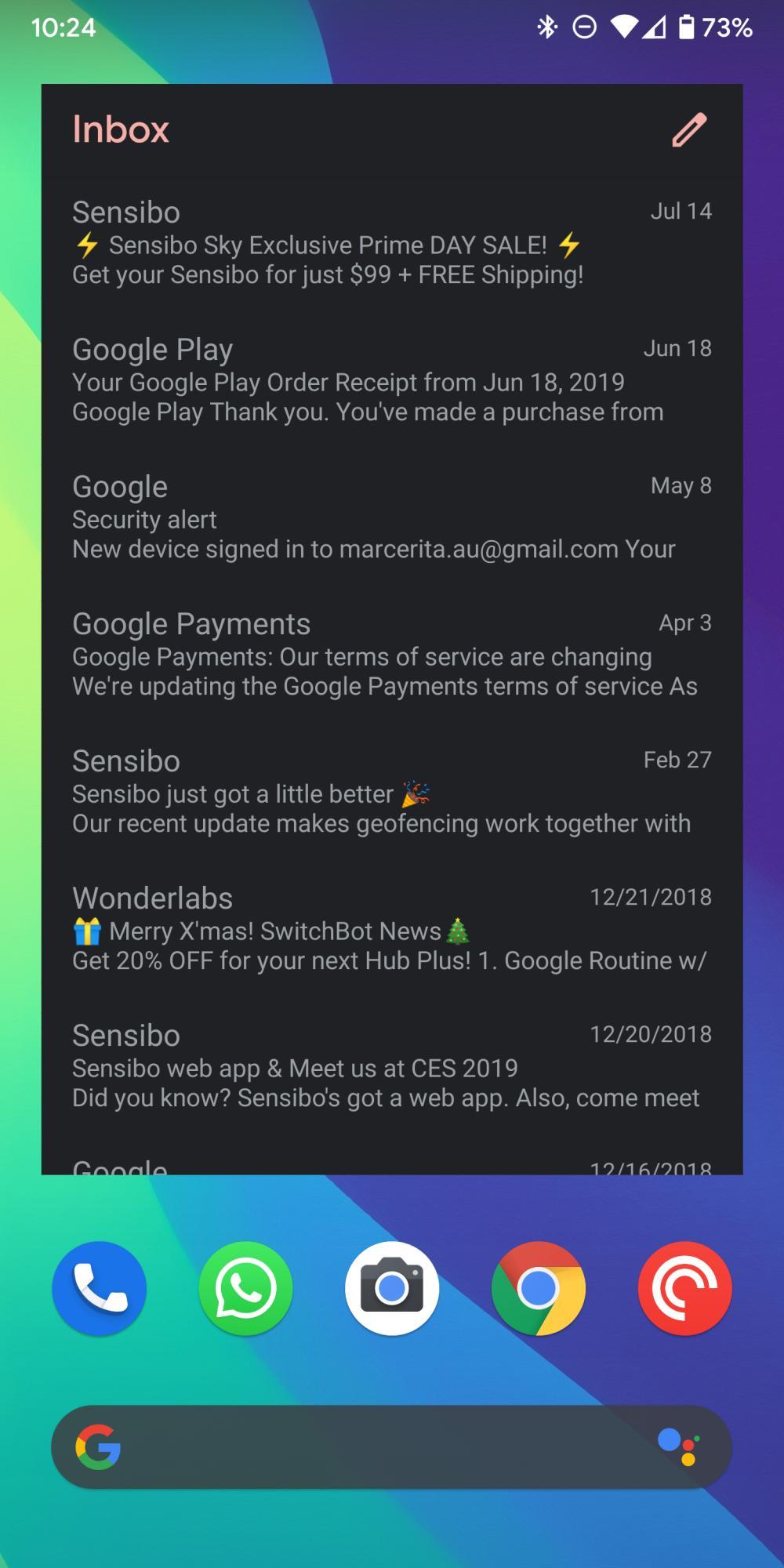 gmail dark mode widget