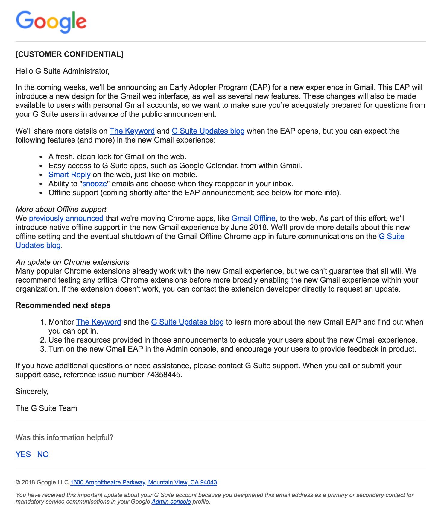 gmail design ankündigung
