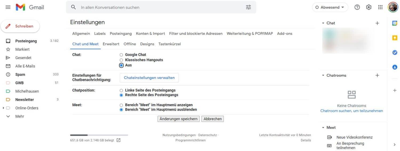 gmail einstellungen
