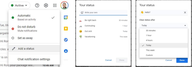 gmail google chat status