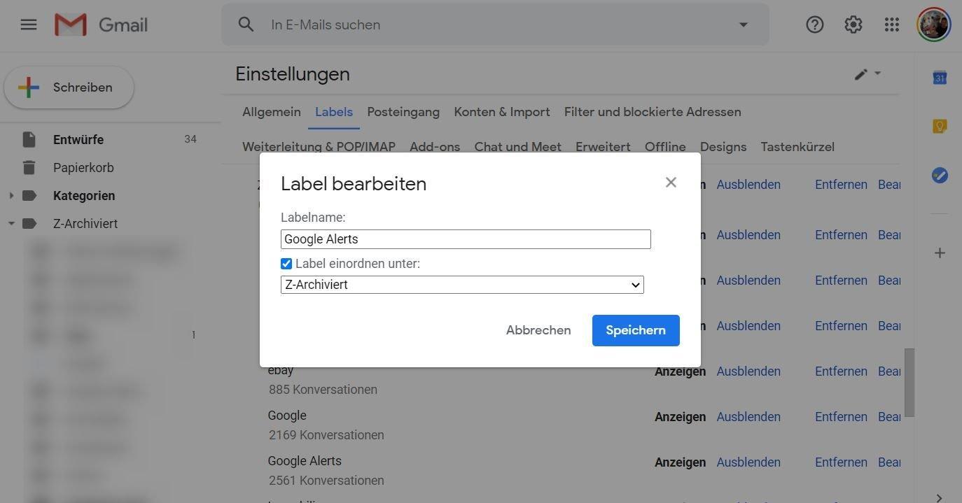 gmail label bearbeiten