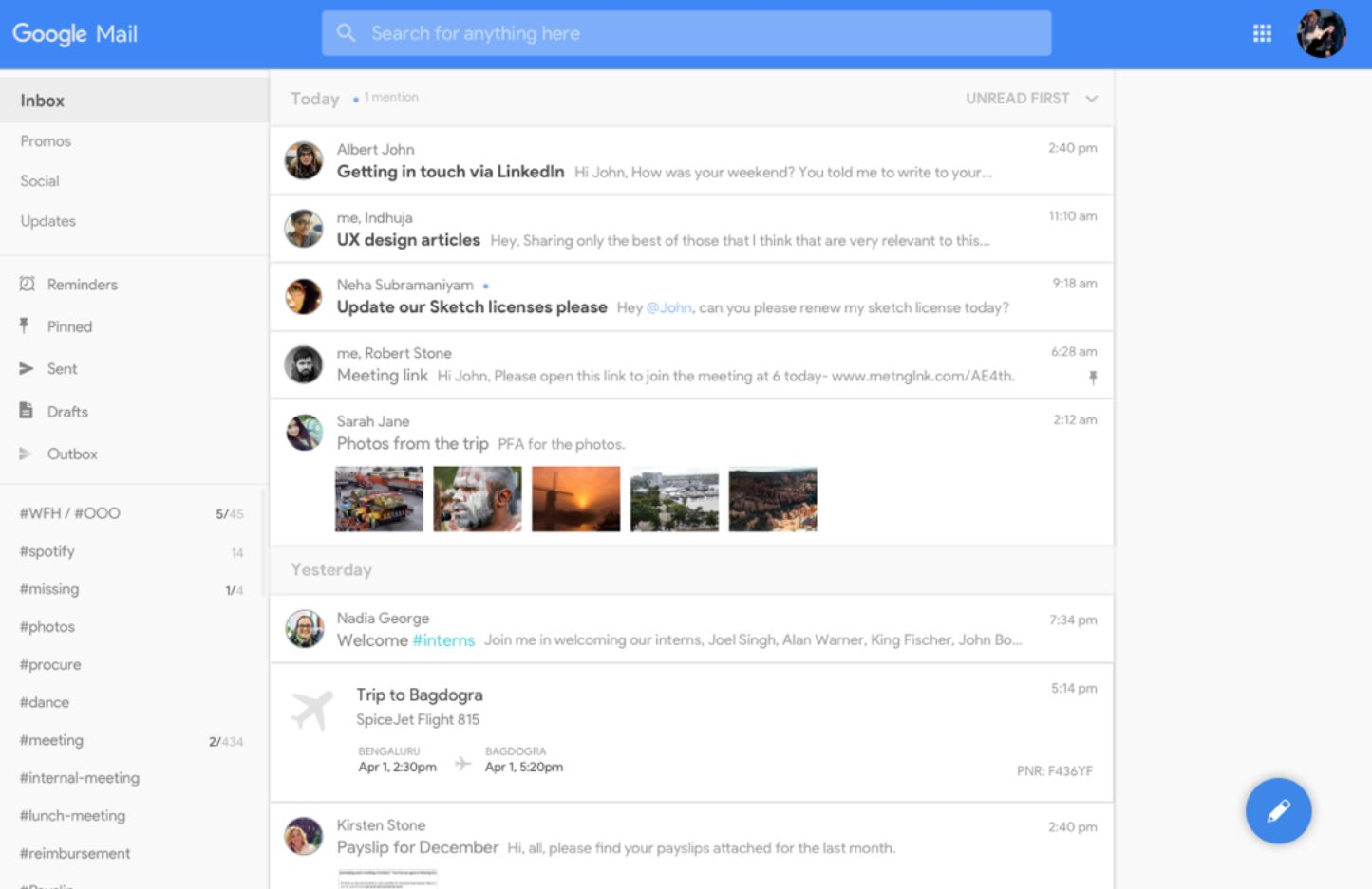 gmail redesign konzept desktop