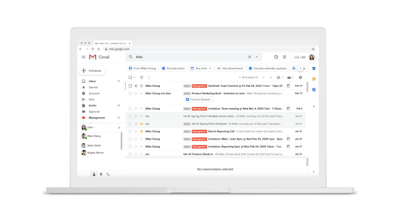 gmail suche neues design