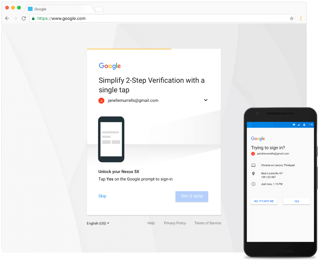 google account login 2 step