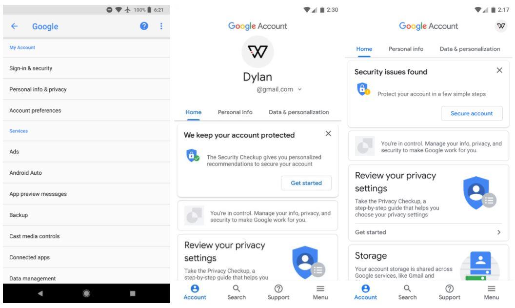 google account material design