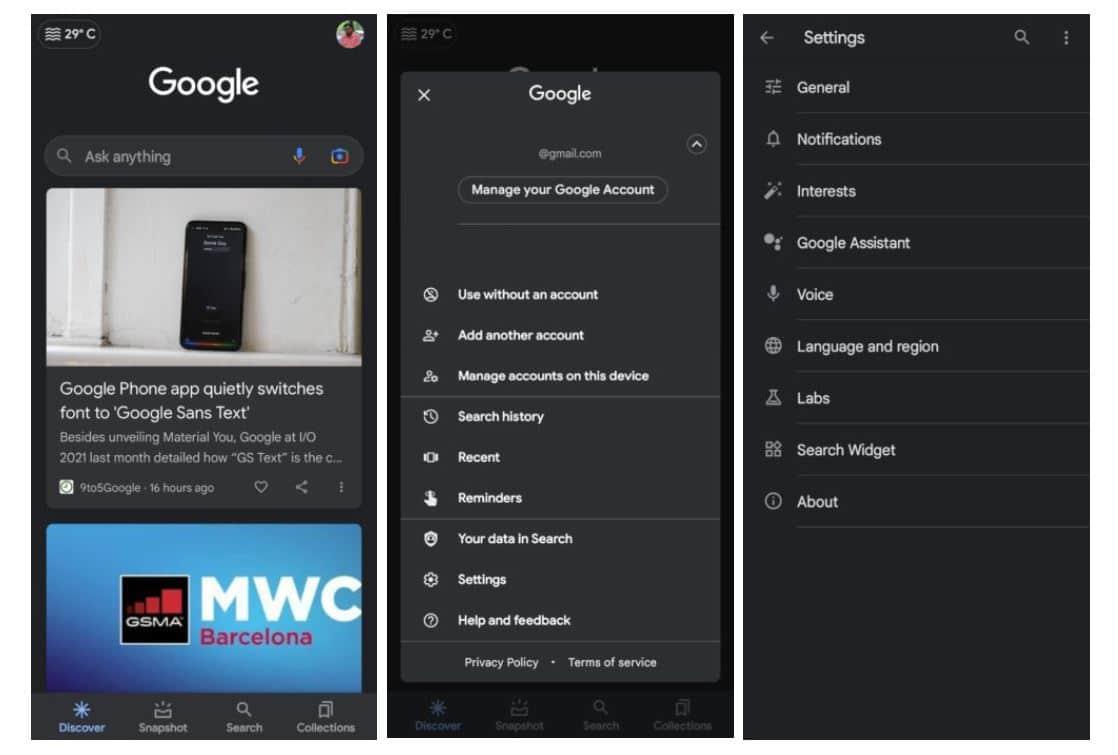 google app navigation new design