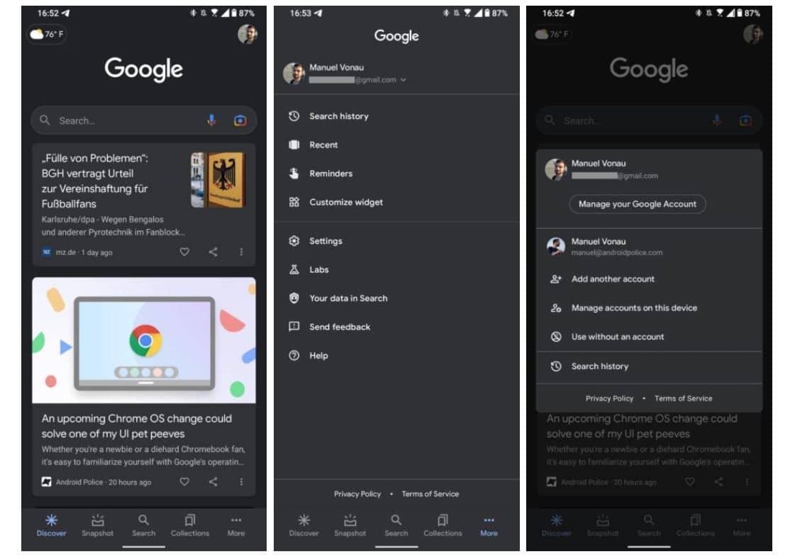 google app navigation old design