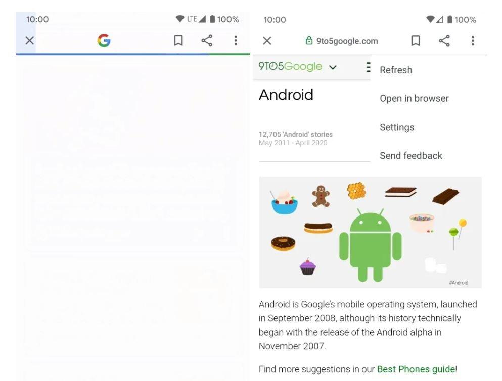 google app new browser tab