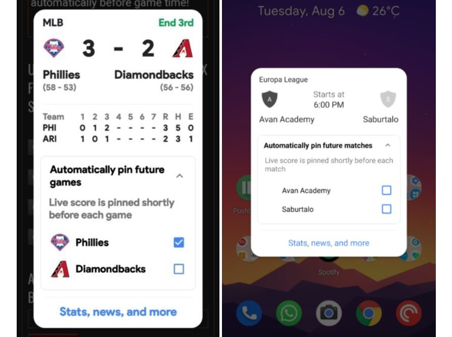google app sport widget