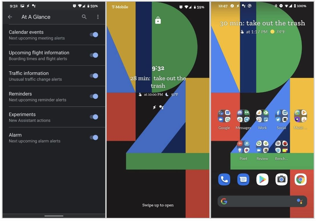 google assistant at a glance widget