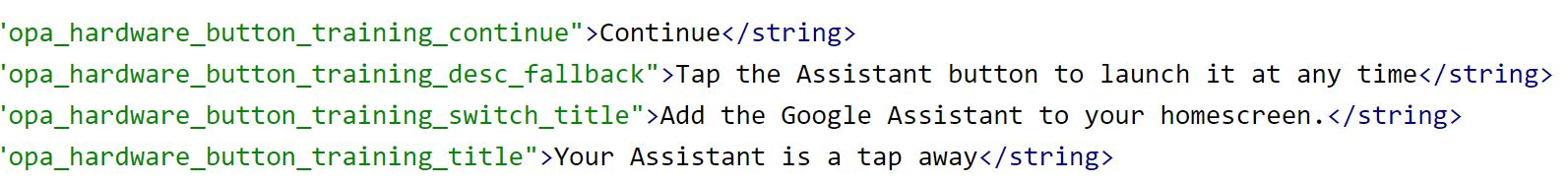 google assistant button string