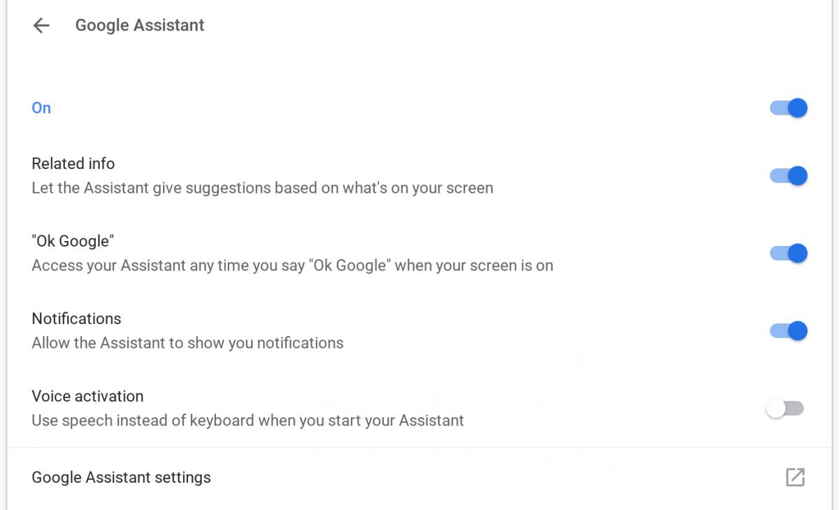 google assistant chrome os settings