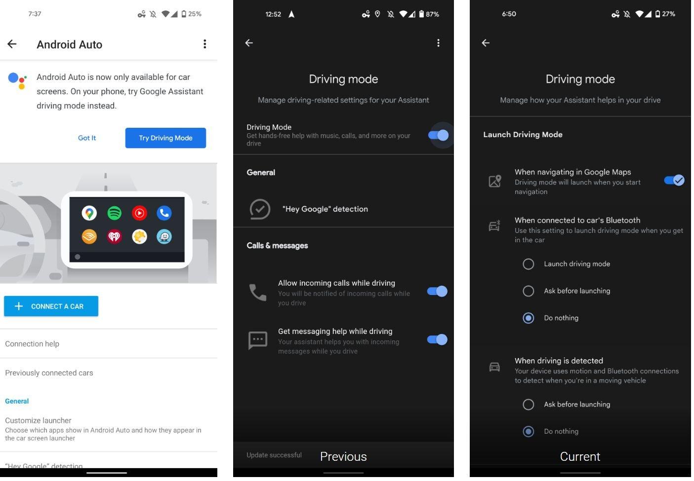 google assistant driving mode autostart