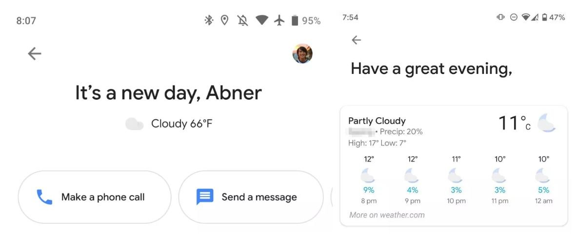 google assistant feed weather