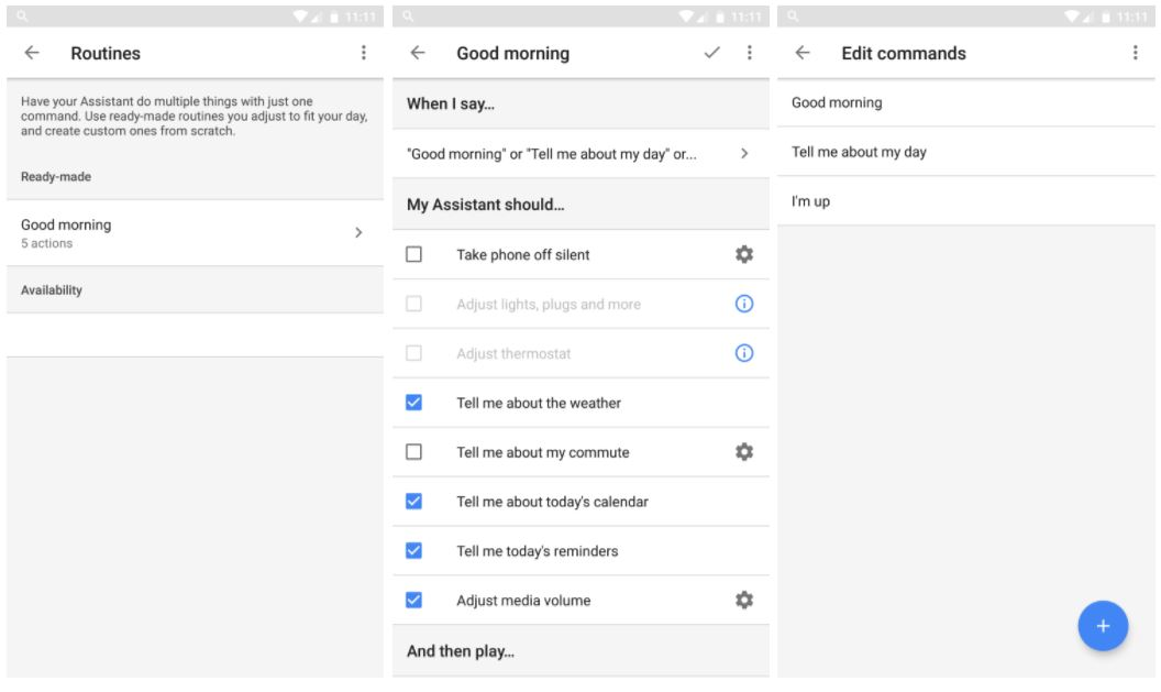 google assistant routinen