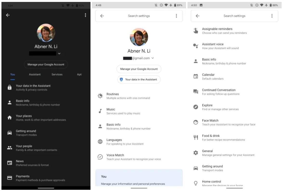 google assistant settings 1