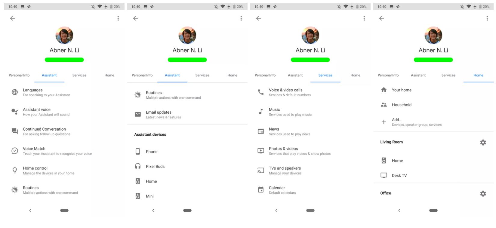 google assistant settings detail
