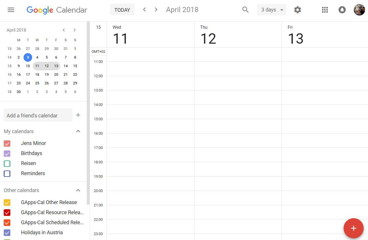 google calendar 3 tages ansicht
